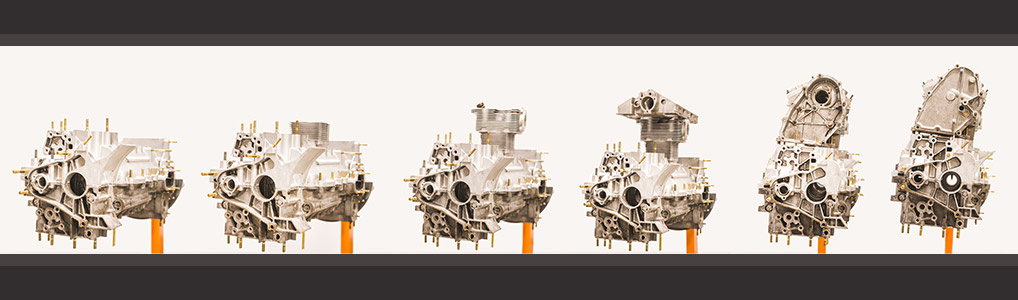 Many different stages of building an engine